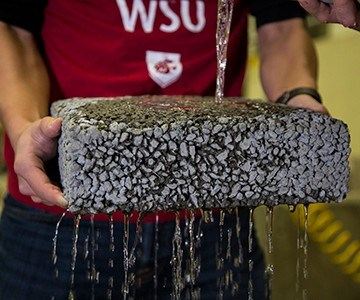 WSU permeable pavement with carbon fiber