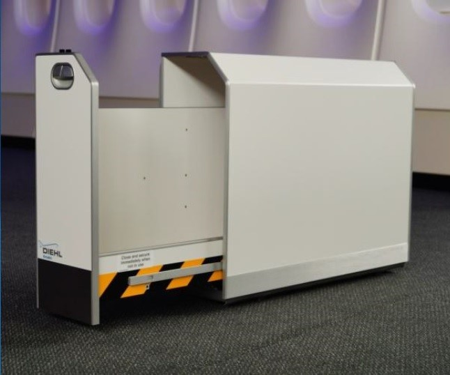 EconCore material is used in this stowage bin by Diehl Aircabin.