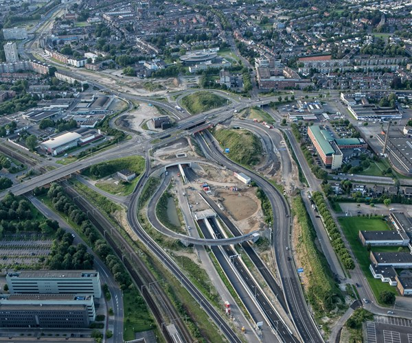 A2 tunnel entrance, aerial view, Maastricth, the Netherlands.