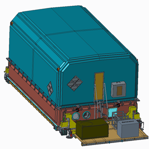 Big composite container protects vital satellite