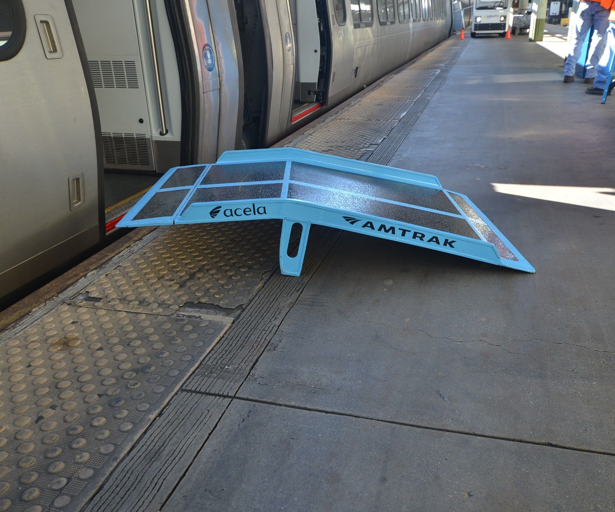 Plasan-manufactured composite Amtrak ramp.