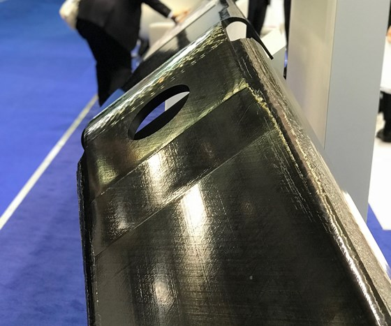 Carbon fiber/thermoplastic composite spar structure on TenCate stand at JEC World 2018.