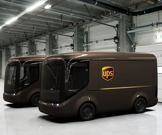 The composites-intensive UPS EV vans are being developed by UK-based firm ARRIVAL.