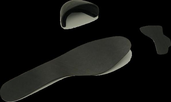 Covestro Maezio thermoplastic composite material samples for shoe toecap, shank and midsole.