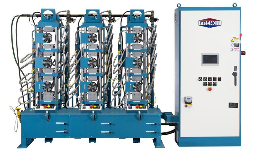 French Oil Mill Machinery Company's three-press hydraulic system.