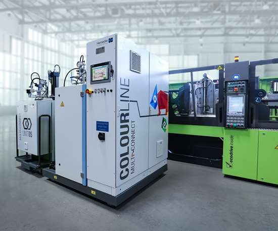 Hennecke COLOURLINE surface finishing system for injection molding.