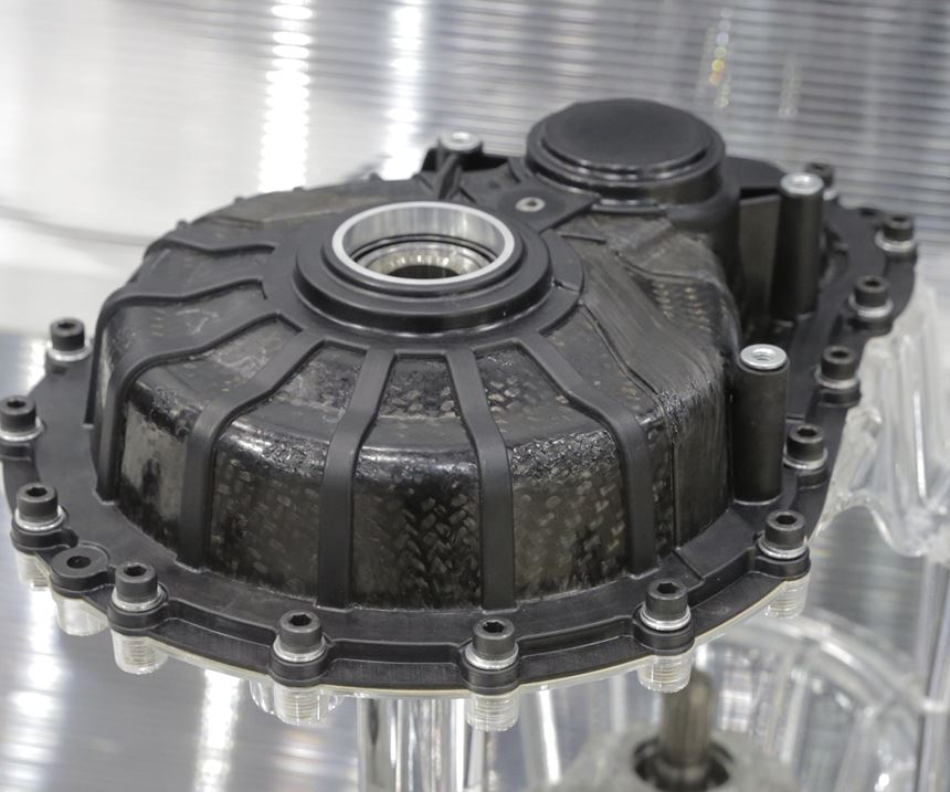 thermoplastic composite gearbox housing for electric vehicle