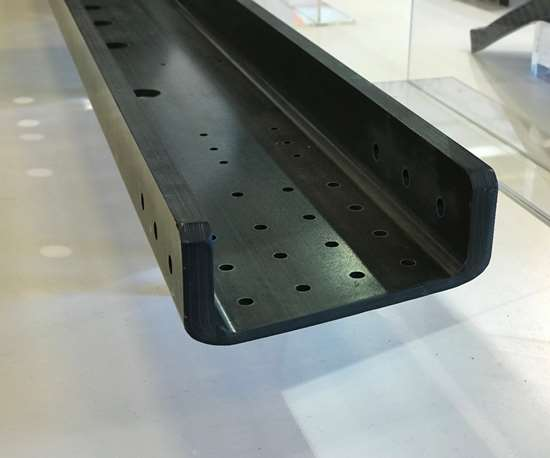 Carbon fiber beam for the 777X at the Solvay stand, JEC World 2018.