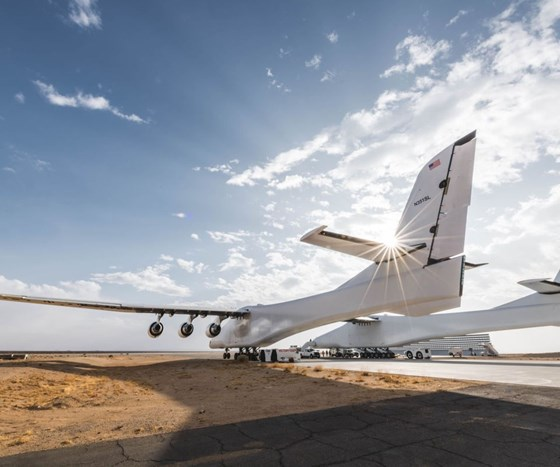 Stratolaunch during low-speed taxi tests.