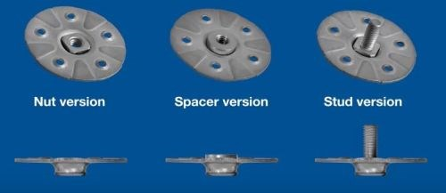 Bollhoff molded-in fasteners for composites spacer stud and nut versions