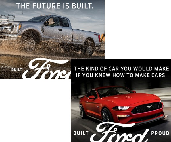 Ford ad campaign THE FUTURE IS BUILT