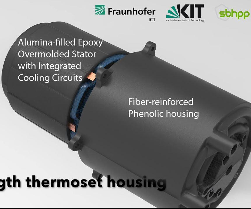 Fiber-reinforced phenolic housing for DEmiL EV motor