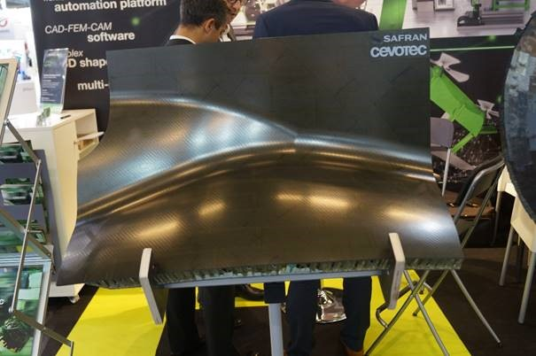 Cevotec demonstrator engine nacelle part with Safran Nacelles using SAMBA automated fiber patch placement FPP