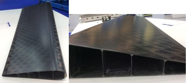 CompoTech single-piece aileron using filament winding and longitudinal ribs