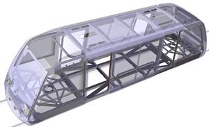 VLR demo rail vehicle with braided thermoplastic CFRP tube chassis