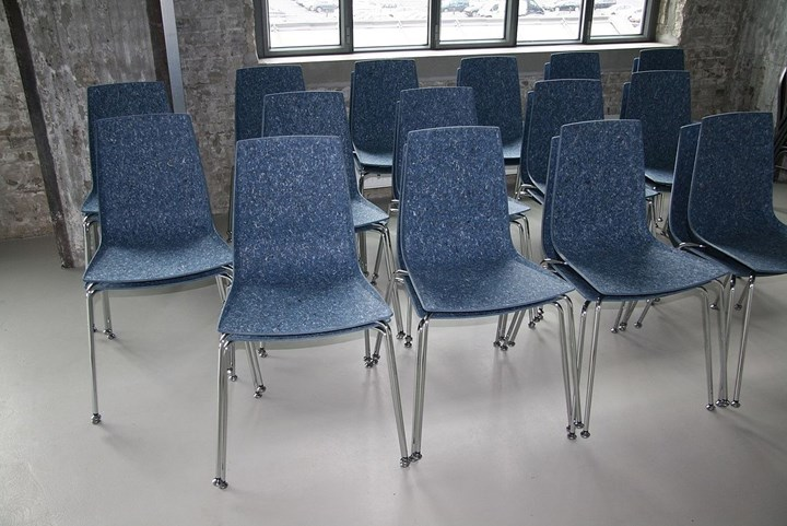 Marc Meijers DenimX chair uses HUESKER W8SVR Neolaminate continuous fiber-reinforced thermoplastic composites