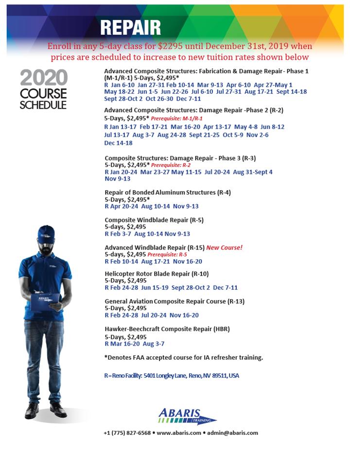 Abaris Training composite repair courses for 2020 initial listing