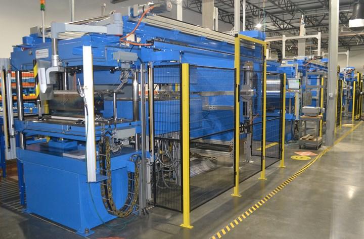 ATC Manufacturing thermoplastic composites 80-ton press