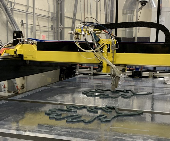 Reactive Additive Manufacturing RAM machine 3D prints large-scale thermoset composites