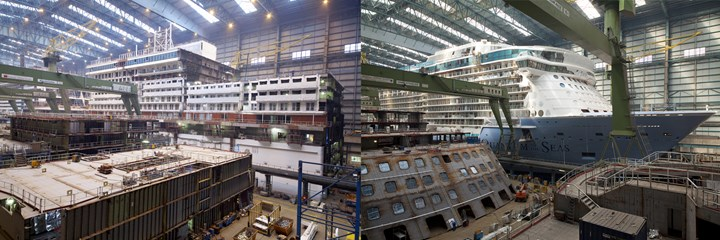 Meyer Werft steel ship construction in blocks