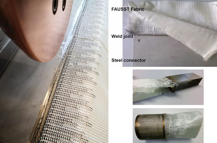 Hyconnect seam welding FAUSST fabric to steel connectors