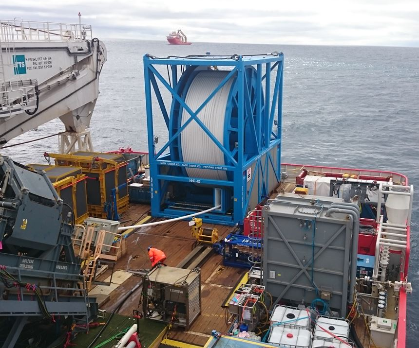 Spooled thermoplastic composite pipe downline for deep-sea oil and gas