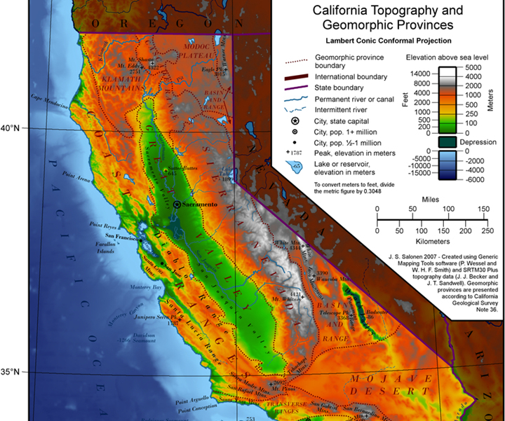 NOAA topography of California