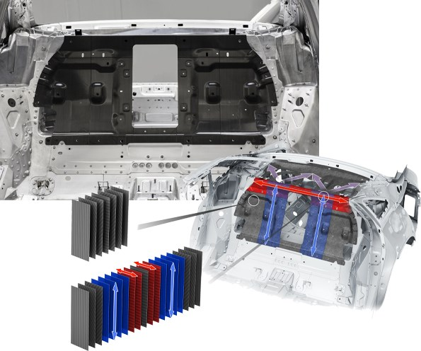 CFRP rear wall for Audi A8 made by Voith Composites