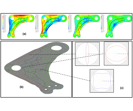 QSD structural optimization results may be displayed as direct variable fields and stiffness polar plots