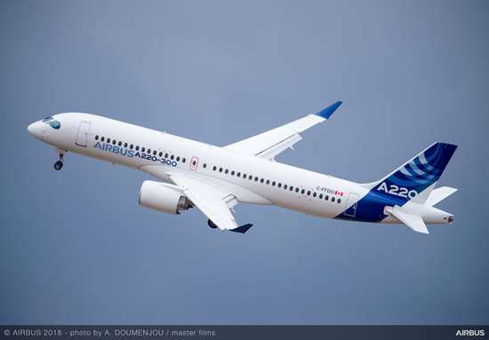 Airbus A220 single-aisle aircraft with infused wings