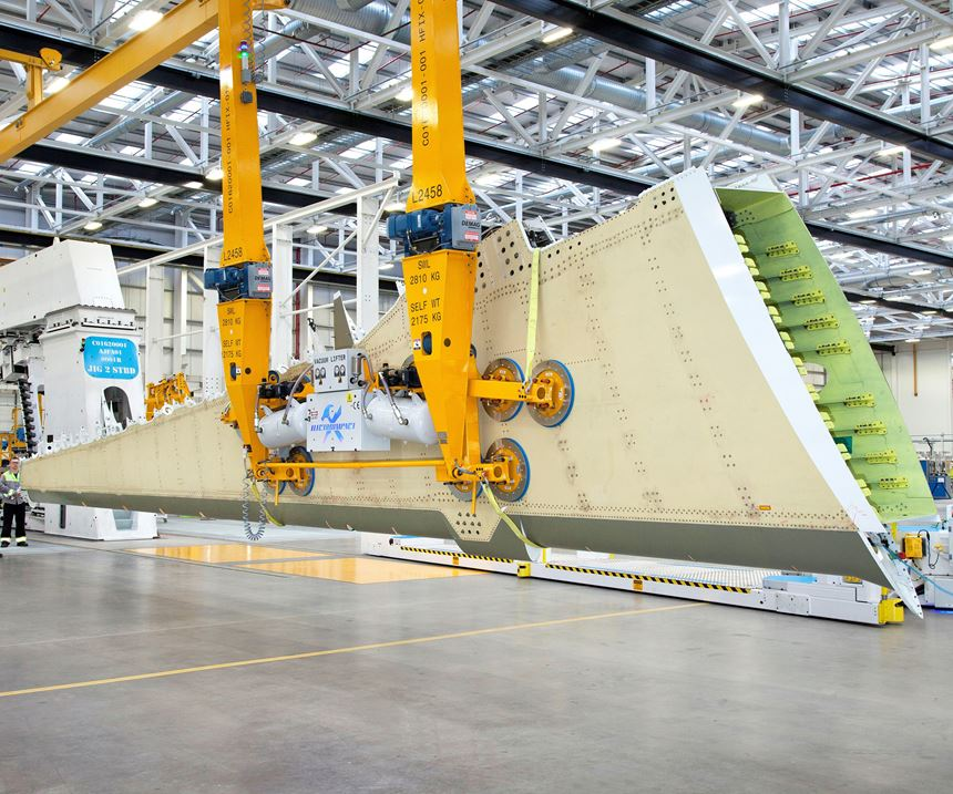 Airbus A220 wing at Bombardier Belfast facility