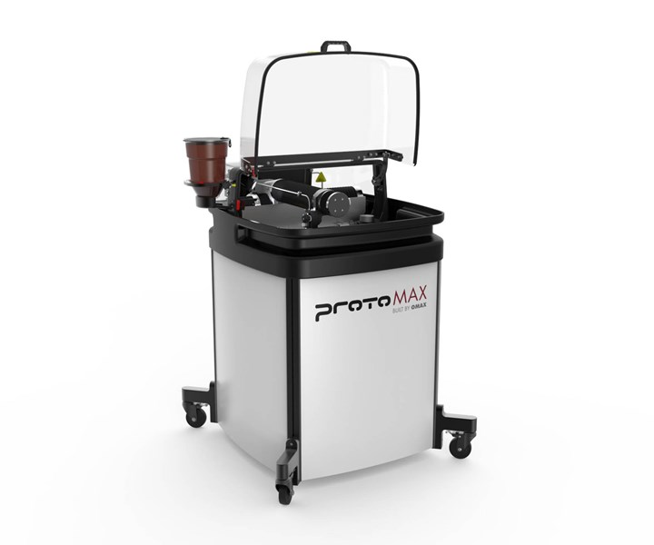 OMAX ProtoMAX abrasive waterjet for cutting composites