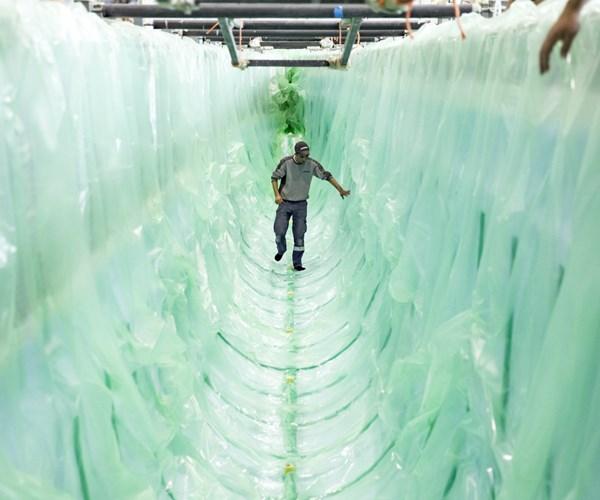 Damen shipyards infusing water bus hull
