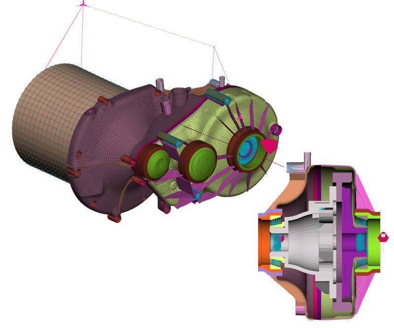 finite element modeling simulation for composite gearbox housing