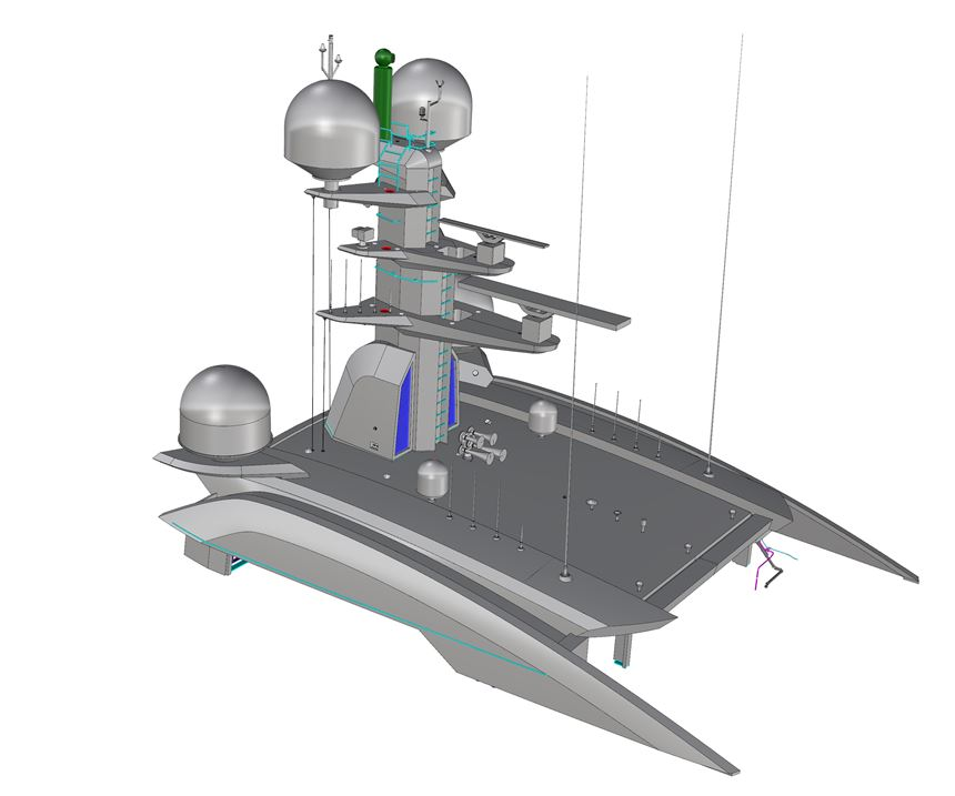 Vabo Composites carbon fiber mast and canopy