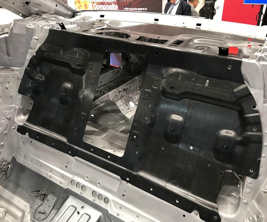 Audi A8 carbon fiber rear wall at JEC World trade show