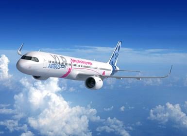 Airbus A321XLR extended range passenger plane
