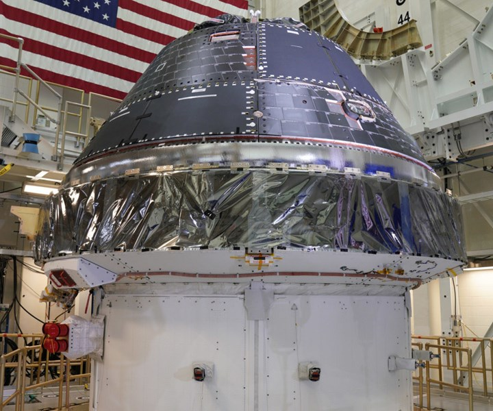 Orion spacecraft capsule manufactured by Lockheed Martin