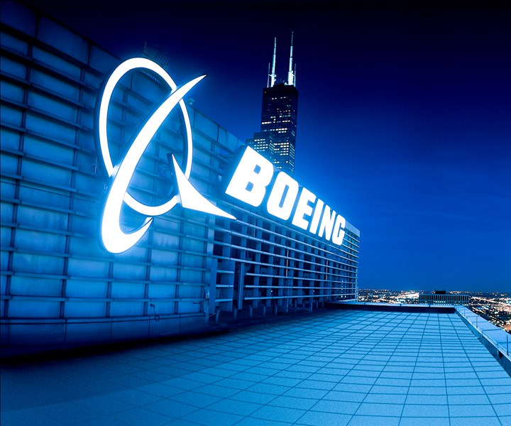 Boeing corporate headquarters and logo