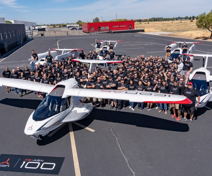 ICON A5 amphibious sports aircraft with carbon fiber composite fuselage