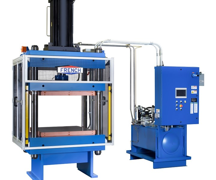 French hydraulic press for compression molding composites manufacturing