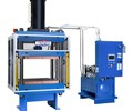 Down-acting hydraulic compression press designed for composite molding