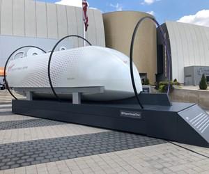 Virgin Hyperloop One's XP-1 test pod on display at COSI (Columbus, Ohio, U.S.).