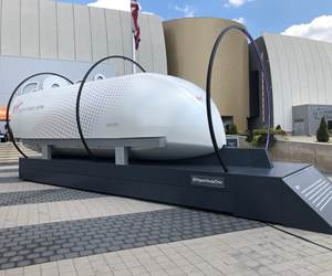 Virgin Hyperloop One's XP-1 test pod on display at COSI (Columbus, Ohio, U.S.).