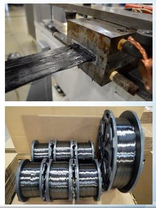 The top photo shows ultrawideband TCF tows entering the impregnation die and the lower image shows completed thermoplastic composite tapes rolled onto creels .
