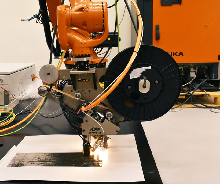 Addcomposites installs AFP-XS plug and play AFP toolhead KUKA SAM|XL