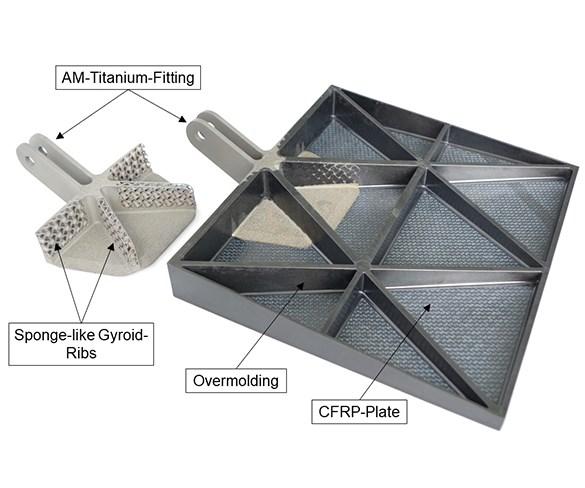 Premium AEROTEC airbrake demonstrator overmolded CFRP additive manufacturing titanium fitting