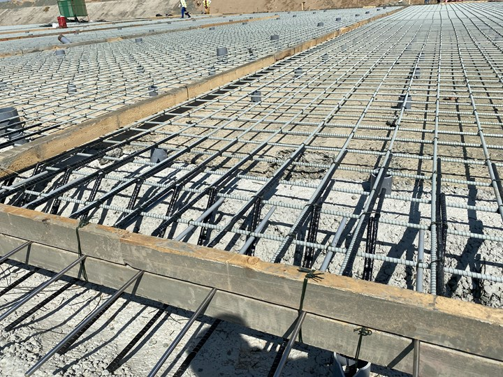 Mateenbar GFRP rebar placed and ready for poured concrete