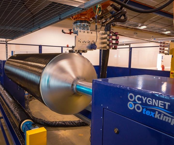 Cygnet Texkimp robotic filament winder for Solvay diaphragm forming preforms