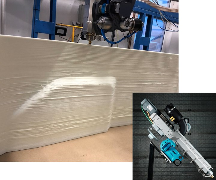 Large 3D printed mold using CEAD Robot Extruder mounted onto CNC milling gantry